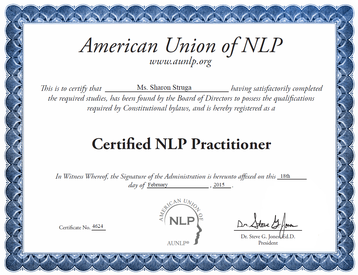 Sharon Struga Certified NLP Practitioner